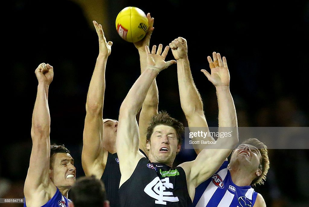 Sam Rowe of the Blues competes for the ball during the round nine AFL match between the North Melbourne Kangaroos and the Carlton Blues at Etihad Stadium on May 21, 2016 in Melbourne, Australia.