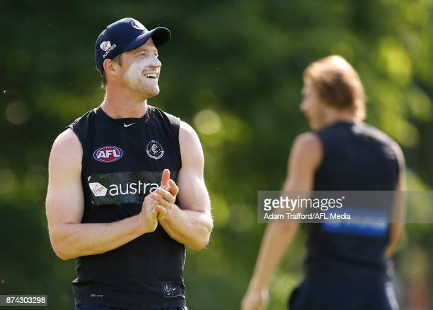Sam Rowe of the Blues looks on during the Carlton Blues training session at Princes Park on November 15 2017 in Melbourne Australia