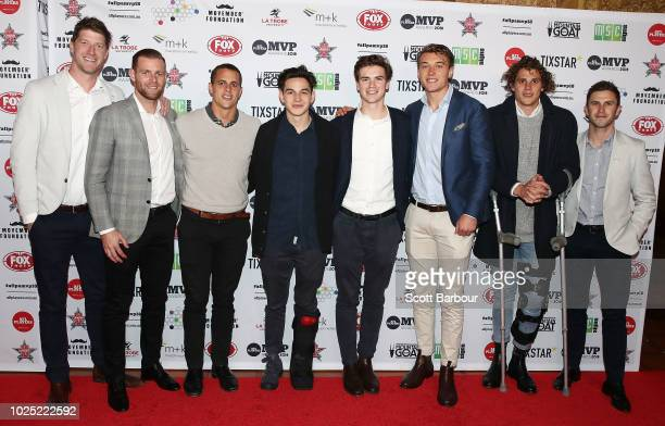 Sam Rowe Sam Docherty Ed Curnow Zac Fisher Paddy Dow Patrick Cripps Charlie Curnow and Marc Murphy of the Blues pose during the 2018 AFL Players' MVP...