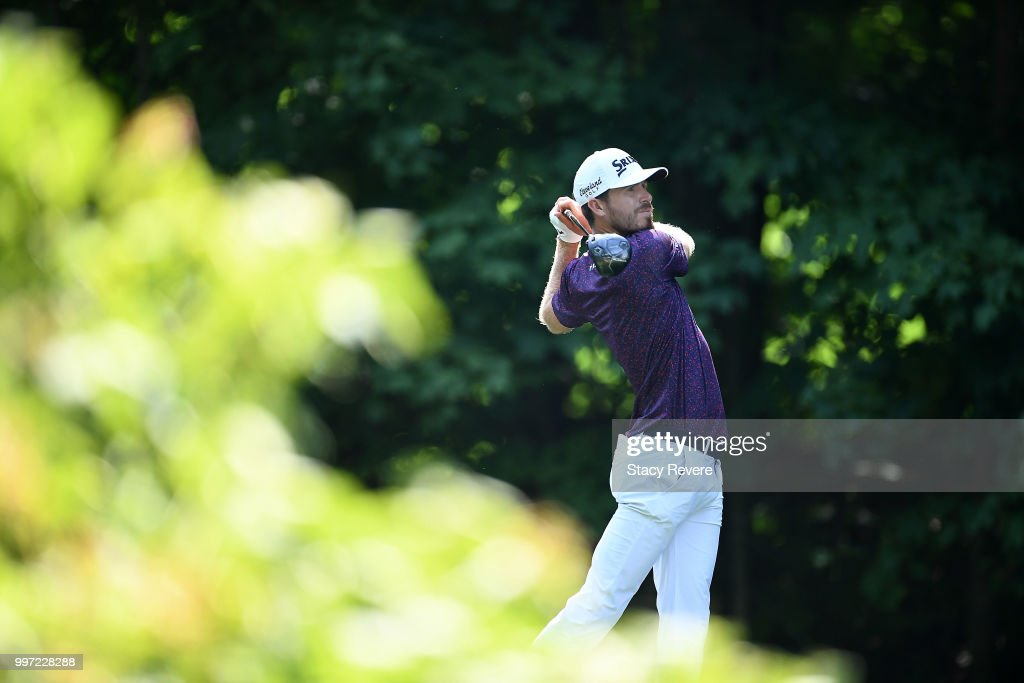 Sam Ryder hits his tee shot on the 17th hole during the first round of the John Deere Classic at TPC Deere Run on July 12, 2018 in Silvis, Illinois.