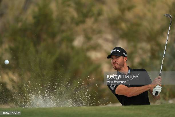 Sam Ryder hits out of the bunker on the 15th hole during the final round of the Shriners Hospitals for Children Open at TPC Summerlin on November 4...