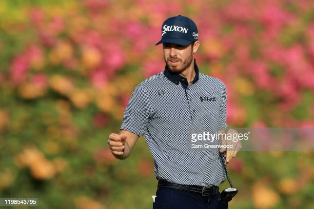 Sam Ryder of the United States reacts on the fifth green during the first round of the Sony Open in Hawaii at the Waialae Country Club on January 09...