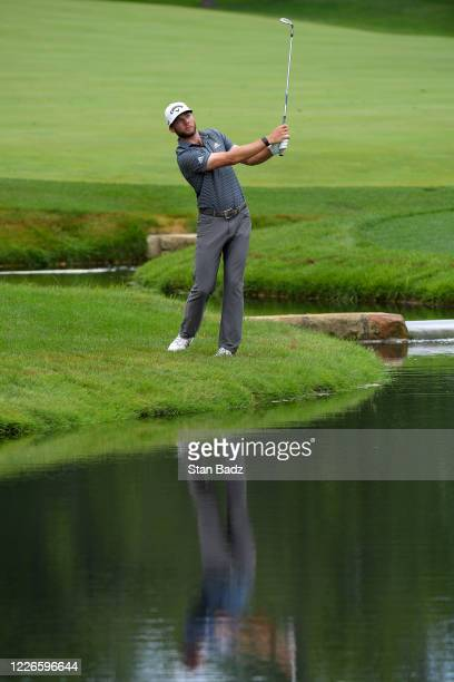 Sam Ryder plays chip shot on the 14th hole during the final round of the Workday Charity Open at Muirfield Golf Club on July 12, 2020 in Dublin, Ohio.