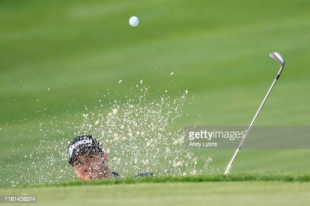 Sam Ryder plays his shot from the bunker on the 17th hole during the first round of the John Deere Classic at TPC Deere Run on July 11 2019 in Silvis...