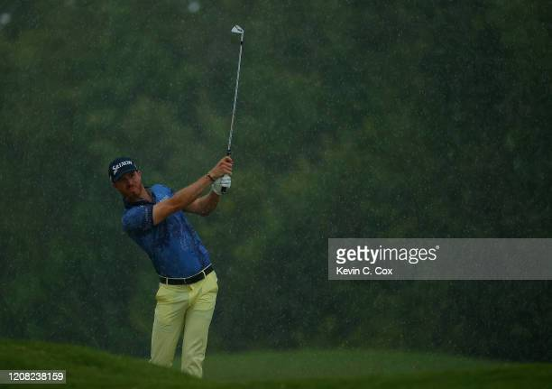 Sam Ryder plays his shot on the 18th hole during the final round of the Puerto Rico Open at Grand Reserve Country Club on February 23 2020 in Rio...