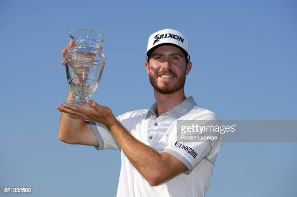 Sam Ryder poses with the winner's trophy after winning the Webcom Tour Pinnacle Bank Championship on July 23 2017 at the Indian Creek Golf Club in...