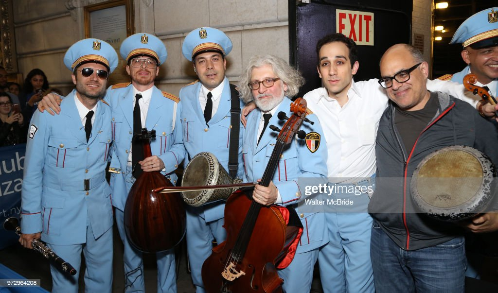 Sam Sadigursky, Harvey Valdes, Ossama Farouk, Garo Yellin, George Abud and David Yazbek pose during 'The Band's Visit' post-show jam celebrating the 10 time Tony Award winning best musical at the Barrymore Theatre on June 12, 2018 in New York City.