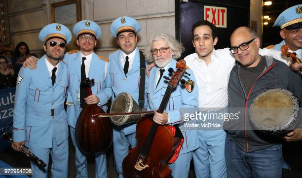 Sam Sadigursky Harvey Valdes Ossama Farouk Garo Yellin George Abud and David Yazbek pose during 'The Band's Visit' postshow jam celebrating the 10...