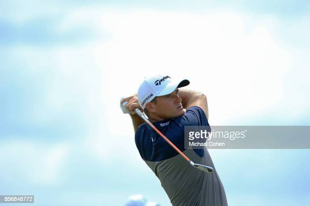 Sam Saunders hits his drive on the 14 hole during the fourth and final round of the Webcom Tour Championship held at Atlantic Beach Country Club on...