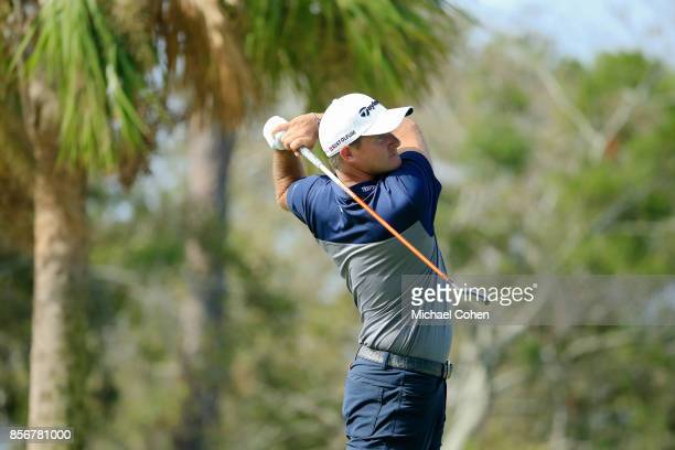 Sam Saunders hits his drive on the fourth hole during the fourth and final round of the Webcom Tour Championship held at Atlantic Beach Country Club...
