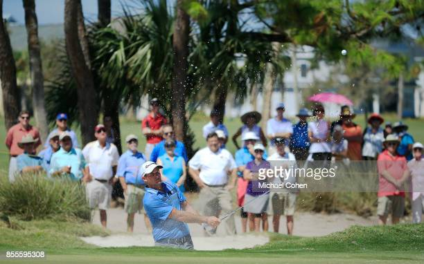 Sam Saunders hits his fifth shot on the 18th hole during the second round of the Webcom Tour Championship held at Atlantic Beach Country Club on...