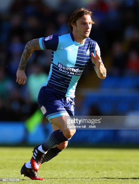 Sam Saunders of Wycombe Wanderers during the Sky Bet League Two match between Wycombe Wanderers and Notts County at Adams Park on March 25 2017 in...