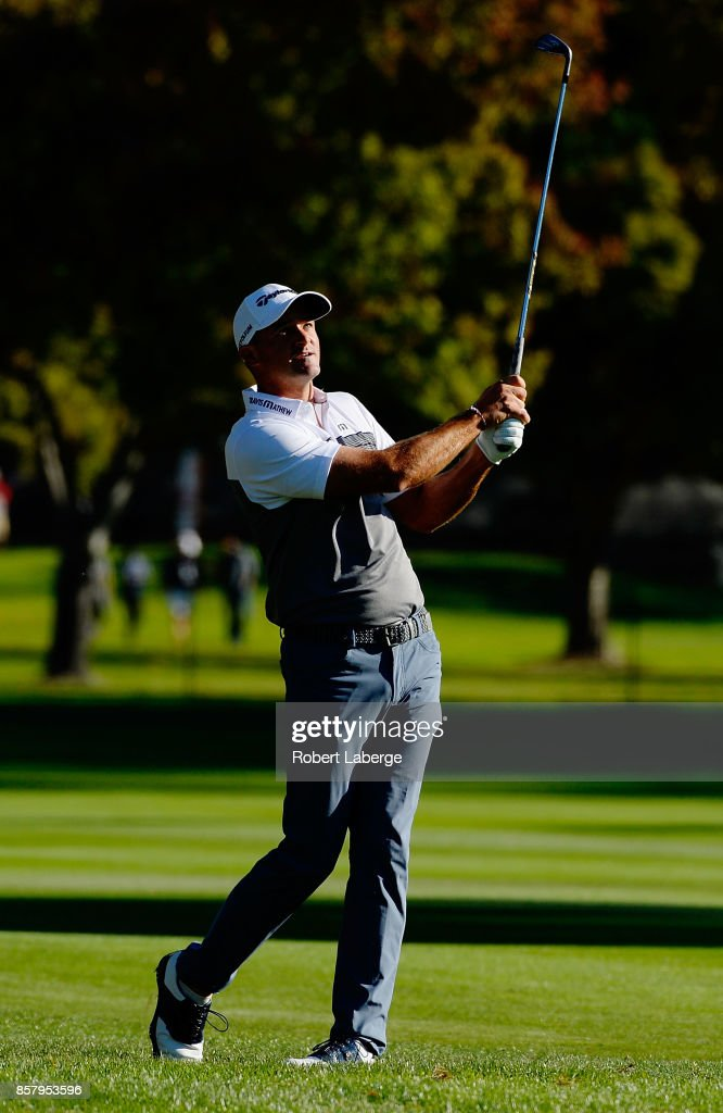 Sam Saunders plays his shot on the 13th hole during the first round of the Safeway Open at the North Course of the Silverado Resort and Spa on October 5, 2017 in Napa, California.