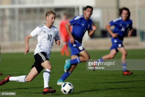 Sam Schreck of Germany in action during the U19 International Friendly between U19 Cyprus and U19 Germany at Anagennisi Dherynia Stadium on November...