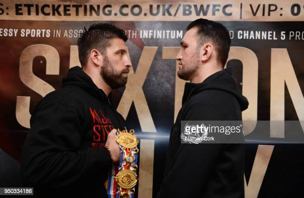 Sam Sexton and Hughie Fury pose for a photo during a press conference ahead of their fight at Macron Stadium on April 23 2018 in Bolton England
