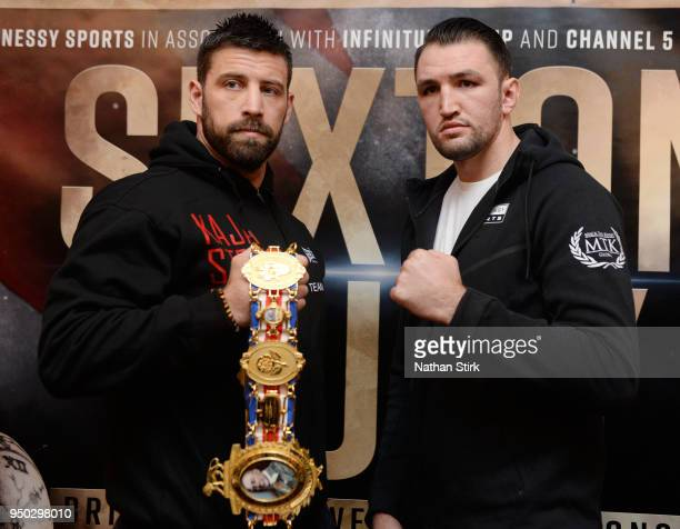 Sam Sexton and Hughie Fury pose for a photo during the Sam Sexton and Hughie Fury Press Conference at Macron Stadium on April 23, 2018 in Bolton,...