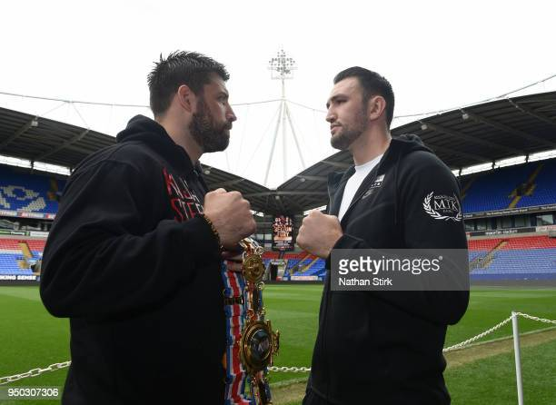 Sam Sexton and Hughie Fury pose for a photo during the Sam Sexton and Hughie Fury Press Conference at Macron Stadium on April 23 2018 in Bolton...