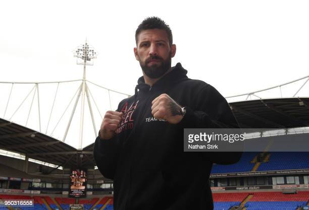 Sam Sexton poses for a photo during the Sam Sexton and Hughie Fury Press Conference at Macron Stadium on April 23 2018 in Bolton England