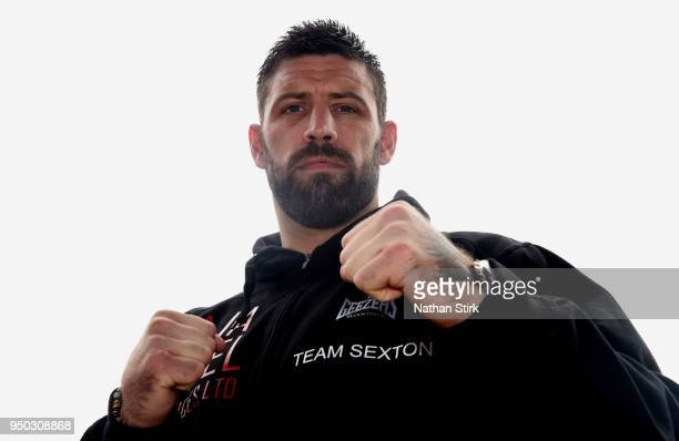 Sam Sexton poses for a photograph during a press conference ahead of his fight against Hughie Fury at Macron Stadium on April 23 2018 in Bolton...