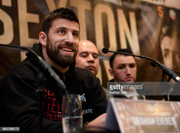 Sam Sexton speaks with the media during the Sam Sexton and Hughie Fury Press Conference at Macron Stadium on April 23 2018 in Bolton England