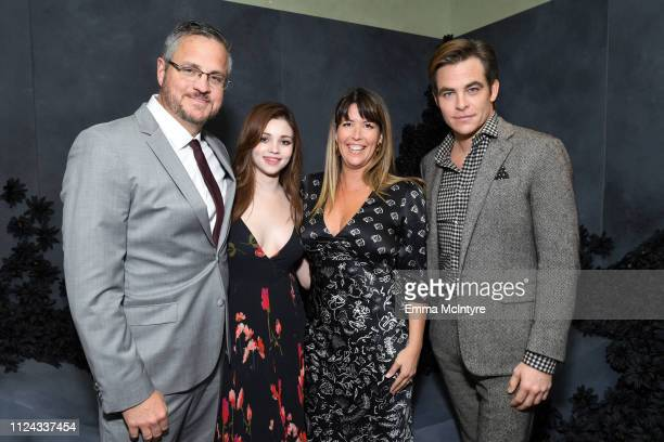 Sam Sheridan India Eisley director Patty Jenkins and Chris Pine attend the I Am the Night Influencer Junket on January 23 2019 in Los Angeles...