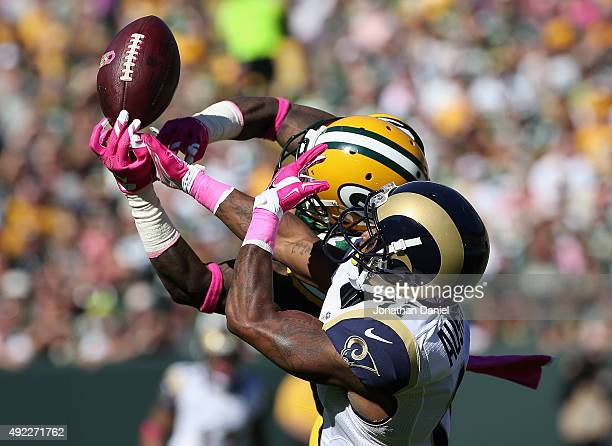 Sam Shields of the Green Bay Packers breaks up a pass intended for Tavon Austin of the St Louis Rams at Lambeau Field on October 11 2015 in Green Bay...