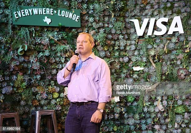 Sam Shrauger SVP of Digital Solutions at Visa announces Visa's firstever API Developer Challenge at The Visa Everywhere Lounge on March 11 2016 in...