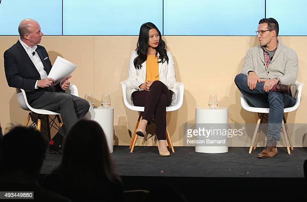 Sam Sifton Food editor The New York Times moderates Hannah Cheng cofounder Mimi Cheng's and Adam Eskin founder and CEO Dig Inn onstage at The New...