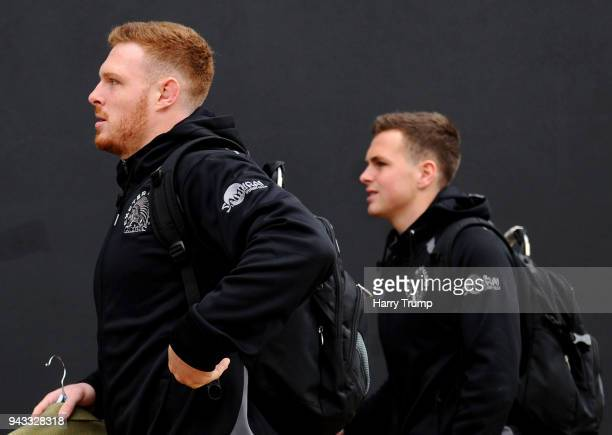 Sam Simmonds and Joe Simmonds of Exeter Chiefs arrive at the stadium prior to the Aviva Premiership match between Exeter Chiefs and Gloucester Rugby...