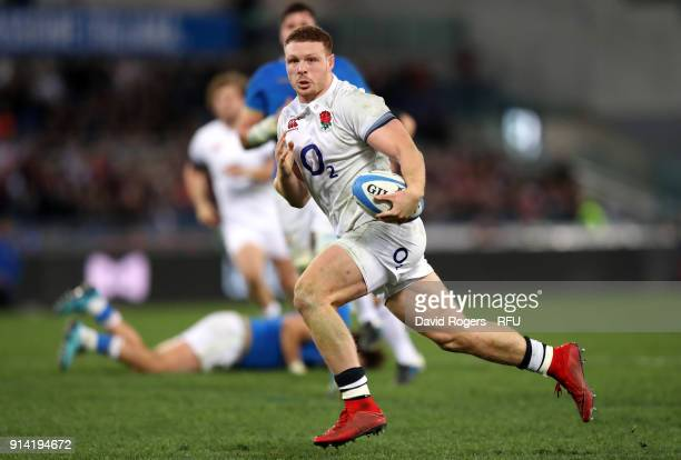 Sam Simmonds of England breaks for his second try during the NatWest Six Nations round One match between Italy and Engalnd at Stadio Olimpico on...