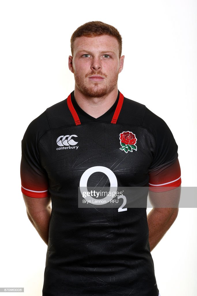 Sam Simmonds of England poses for a portrait during the England Elite Player Squad Photo call at Pennyhill Park on November 6, 2017 in Bagshot, England.