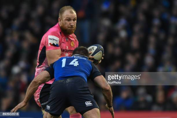 Sam Simmonds of Exeter challenged by Leinster's Fergus McFadden during Leinster vs Exeter Chiefs the European Rugby Champions Cup rugby match at...