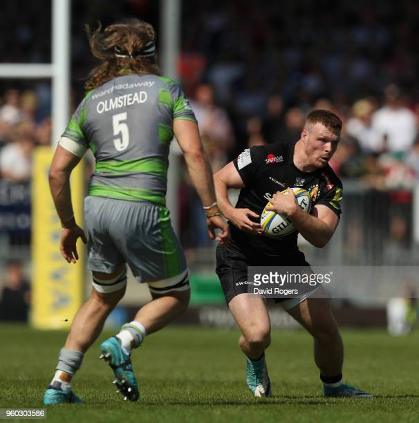 Sam Simmonds of Exeter charges upfield during the Aviva Premiership Semi Final between Exeter Chiefs and Newcastle Falcons at Sandy Park on May 19...