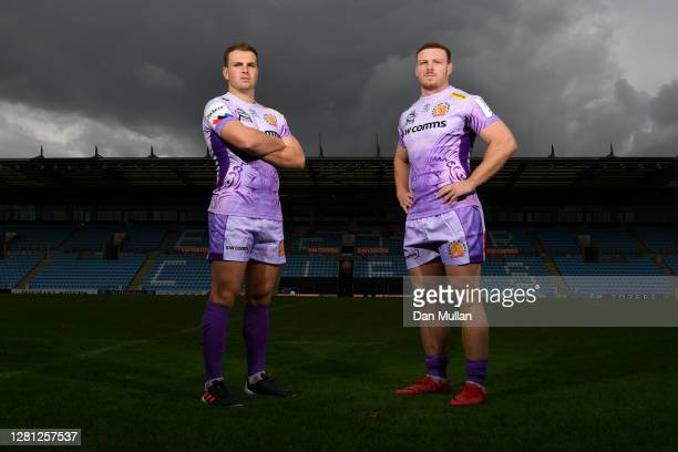 Sam Simmonds of Exeter Chiefs poses alongside his brother and team mate Joe Simmonds of Exeter Chiefs at Sandy Park on October 07, 2020 in Exeter,...