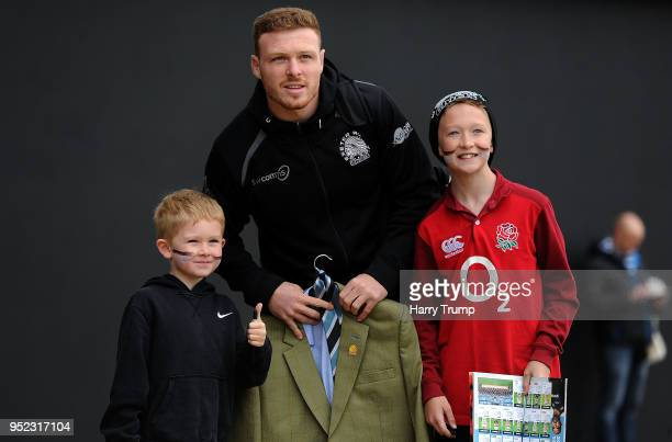 Sam Simmonds of Exeter Chiefs poses for a photo with fans prior to kick off during the Aviva Premiership match between Exeter Chiefs and Sale Sharks...