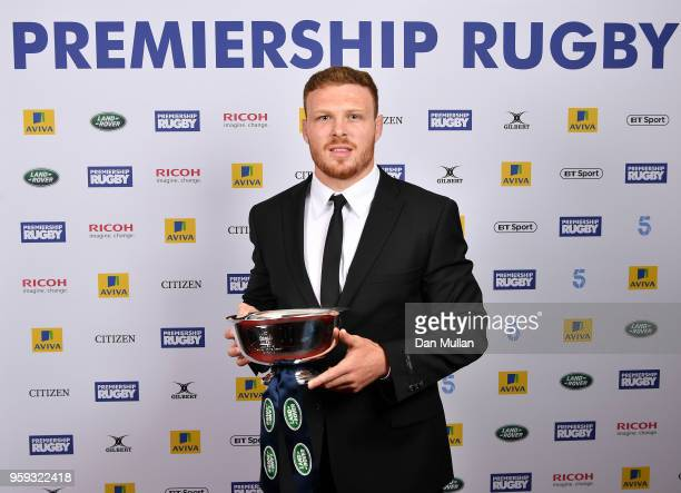Sam Simmonds of Exeter Chiefs receives the Land Rover Discovery of the Season award during the Premiership Rugby Awards 2018 at the Royal Lancaster...