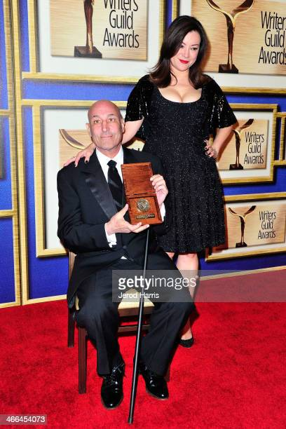 Sam Simon and Jennifer Tilly in the pressroom at the 2014 Writers Guild Awards LA Ceremony at JW Marriott Los Angeles at LA LIVE on February 1 2014...