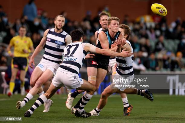 Sam Simpson of the Cats tackles Xavier Duursma of the Power during the 2021 AFL Round 23 match between the Adelaide Crows and the North Melbourne...