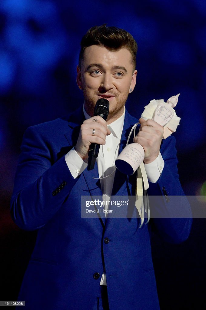 Sam Smith accepts the Best British Male Solo Artist award on stage at the BRIT Awards 2015 at The O2 Arena on February 25, 2015 in London, England.