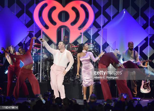 Sam Smith and Normani perform at KIIS FM's Jingle Ball 2019 at The Forum on December 06, 2019 in Inglewood, California.