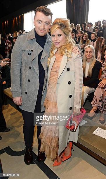 Sam Smith and Paloma Faith attend the Burberry Prorsum AW 2015 show during London Fashion Week at Kensington Gardens on February 23, 2015 in London,...