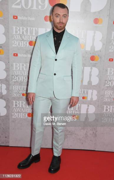 Sam Smith arrives at The BRIT Awards 2019 held at The O2 Arena on February 20 2019 in London England