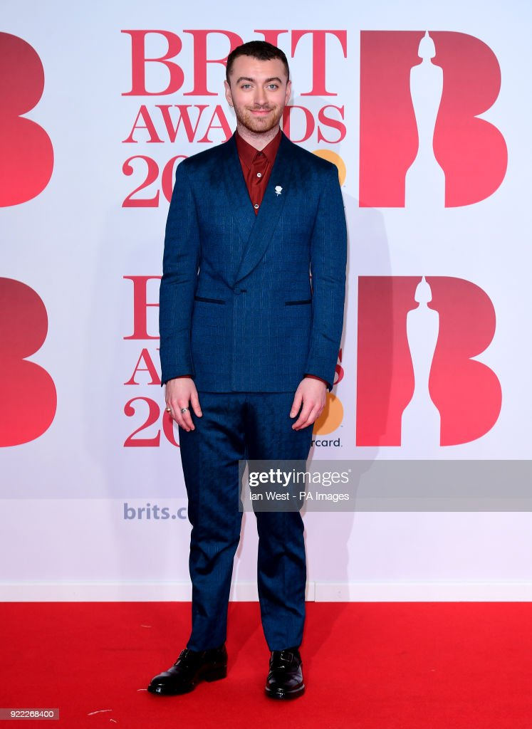 Sam Smith attending the Brit Awards at the O2 Arena, London.