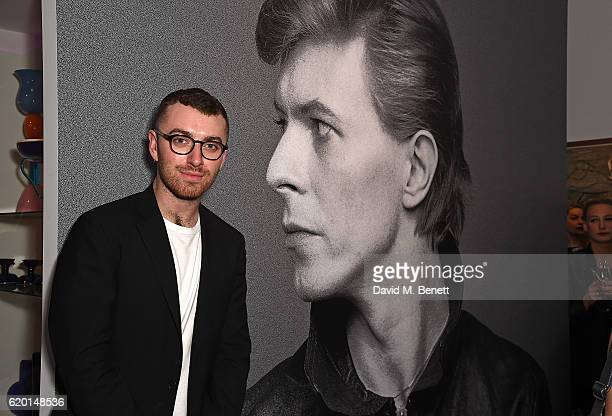 Sam Smith attends a private view of 'Bowie/Collector' the personal art collection of David Bowie at Sotheby's on November 1 2016 in London England