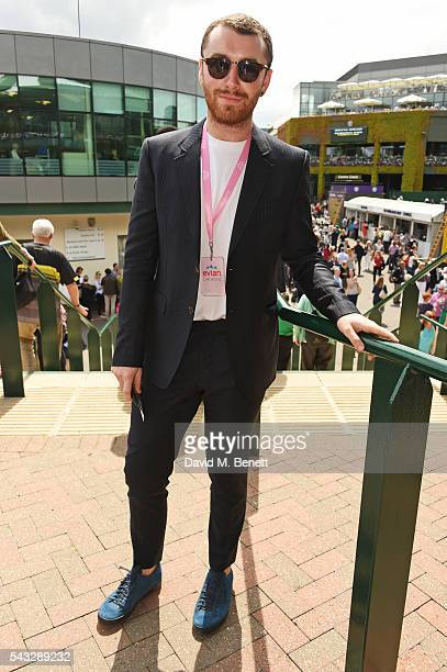 Sam Smith attends the evian Live Young suite during Wimbledon 2016 at the All England Tennis and Croquet Club on June 27 2016 in London England