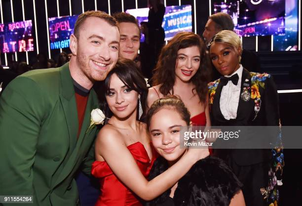 Sam Smith Camila Cabello Brandon Flynn Sofi Cabello Lorde and Janelle Monae attend the 60th Annual GRAMMY Awards at Madison Square Garden on January...