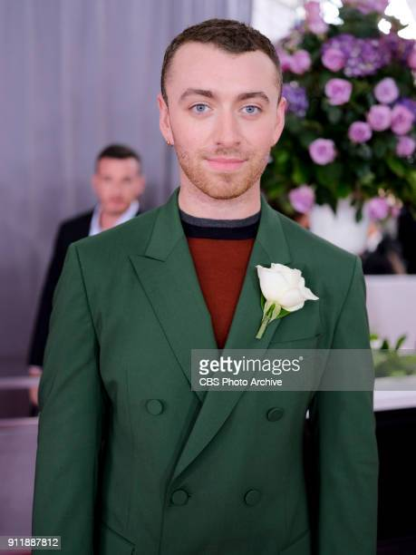 Sam Smith on the red carpet at THE 60TH ANNUAL GRAMMY AWARDS broadcast live on both coasts from New York City's Madison Square Garden on Sunday Jan...