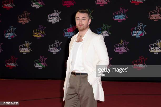 Sam Smith on the red carpet before the 2019 NRJ Music Awards ceremony in Cannes , at the Palais des Festivals convention center on .