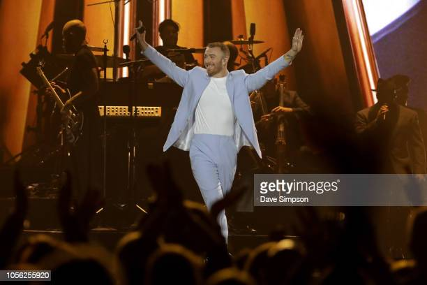 Sam Smith performs at Spark Arena on November 2, 2018 in Auckland, New Zealand.