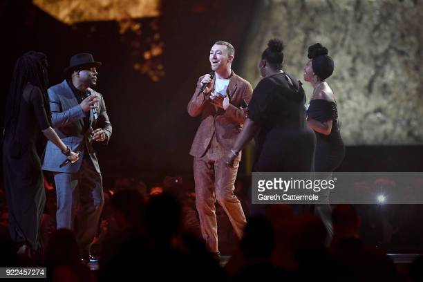 AWARDS 2018 *** Sam Smith performs at The BRIT Awards 2018 held at The O2 Arena on February 21 2018 in London England
